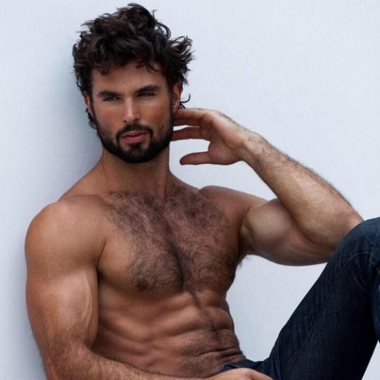 Hairy naked male model pic